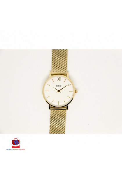 CL30010 Cluse Minuit Mesh Gold/White Ladies Watch